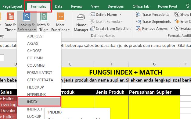 Fungsi Index Match Untuk Mengolah Data Excel Belajar Microsoft Excel