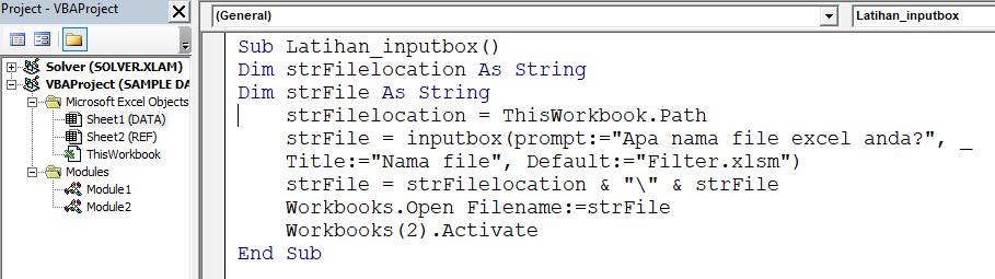 Cara menggunakan inputBox Excel Vba